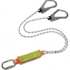 Строп верёвочный двойной с разрывным амортизатором и карабинами (2 Монтажных + Овал Автомат)