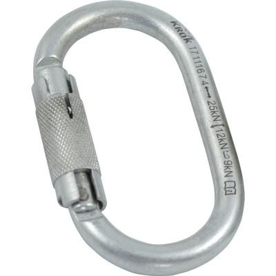 Карабин «ОВАЛ АВТОМАТ» (сталь, KeyLock, байонет/муфта, 25 кН)
