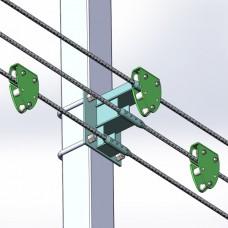 Горизонтальная тросовая анкерная линия КАЛИБЕР на 3 пользователя